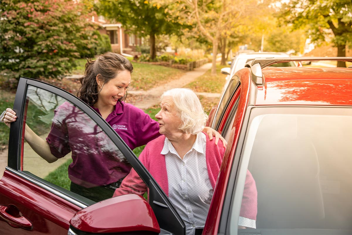 home instead caregiver providing senior care services